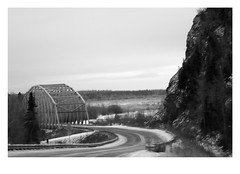 Crossing Tanana River (Robert Drozda) Tags: bigdelta alaska richardsonhighway tananariver bluff bridge bw fbxtopdx drozda
