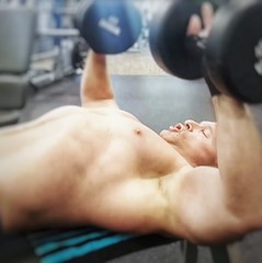 shirtless db  bench press (ddman_70) Tags: shirtless pecs abs muscle chest gym workout benchpress
