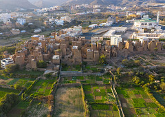 Aerial view of an old village with traditional mud houses, Asir province, Dhahran Al Janub, Saudi Arabia (Eric Lafforgue) Tags: adobe aerialview agriculture arabia arabicstyle architectural architecture aseer aseerprovince asir assir brick building buildingexterior builtstructure colorimage cultivatedland dahranaljanub day drone farm field habitation horizontal house ksa middleeast midmakh mudbrick nopeople oldbuilding oldhouse outdoors photography plamtrees qahtan saudiarabia saudi181968 tourism travel traveldestinations village dhahranaljanub asirprovince sa
