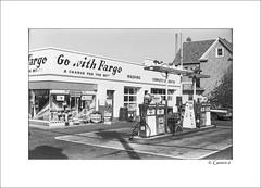 Full Service  (FILM) (* Gemini-6 *) Tags: blackandwhite monochrome film 35mm framed rambler 1960s car fuel streetphotography