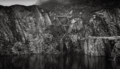 Snow over the lake (joshdgeorge7) Tags: black white lake water snow contrast lomo grey rock quarry slate waterfall walking wales welsh cymru moel siabod