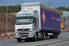 Moves at Forth Road Bridge (2/7) (Jungle Jack Movements (ferroequinologist)) Tags: vovlvo fh gray truck wheel edinburgh scot scottish scotland uk united kingdom great britain construction road super hp horsepower big rig haul freight cabover trucker drive transport bulk lorry hgv wagon highway nose semi trailer deliver cargo vehicle load freighter ship move motor engine power teamster tractor prime mover diesel injected driver cab forth rail bridge daf rigid mulholland man xf bss plant services scania p410 ai automotive p230 arr craib mercedes
