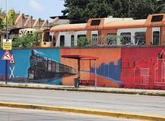 Bus stop (carlos_ar2000) Tags: parada busstop calle street muro wall graffiti arte art color colour tren train taller workshop remediosdeescalada buenosaires argentina
