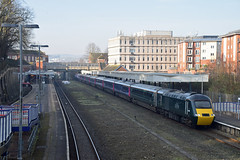 GWR HST at Exeter Central (philwakely) Tags: exeter exetercentral fgw gwr greatwesternrailway greatwestern firstgreatwestern first intercity125 ic125 intercity highspeedtrain hst class43 class253 diesel dieselmultipleunit dmu trains train railway railways rail locomotive