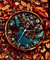 Time Renovations (mrjohnny3d) Tags: renovation reflection analog leaves autumn fall time trees clock nature photographer
