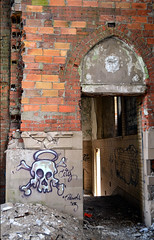 Decaying Beauty (timmerschester) Tags: skull halo walls brick abandoned church detroit michigan stagnes graffiti art decay old