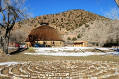 Labyrinth and a Round Barn (Patricia Henschen) Tags: round barn ojocaliente hotsprings newmexico vintage chevrolet truck farm ranch adobe nationalregisterofhistoricplaces labyrinth rocks mountain mountains