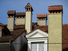 DSC00724 (visol) Tags: chimneys cheminées chimeneas chamine camino tximinia tejados teulades azul blau chimney