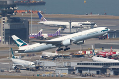 B-KQO, Boeing 777-300ER, Cathay Pacific, Hong Kong (ColinParker777) Tags: boeing 777 773 77w 777300 777300er cathay pacific cx cpa airlines airways ltd airplane aeroplane plane aircraft aviation airliner fly departure takeoff vhhh hkg hong kong chek lap kok airport barge canon 7d 7d2 7dii 7dmkii 7dmk2 200400 l lens pro zoom telephoto water landscape tree sky forest city mountain bkqo 777367er 41757 1216 flying flight tower express a320 airbus united ual ua uo hke