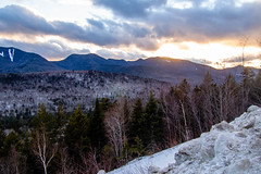 Sunset Over The Mountains (Northern Wolf Photography) Tags: 14mm clouds em5 forest ice kancamagus mountains olympus snow sun sunset trees whitemountains woods lincoln newhampshire unitedstatesofamerica us