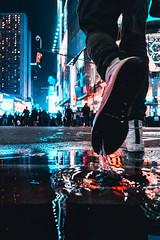 Make A Splash (stevenxcheung) Tags: red nyc shoe product water city urban neon hype dynamic motion epic new york nikon sony canon concrete model sharp kit splash