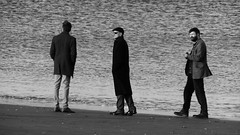Seaside Strolling 08 (byronv2) Tags: edinburgh edimbourg scotland sea seaside coast coastal peoplewatching candid street walking water river rnbforth firthofforth riverforth forth portobello blackandwhite blackwhite bw monochrome man