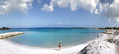 Panoramic view of Playa Pesquero from atop a temporary sand mound. (Gerald Lau) Tags: holguin cuba 2019 hotelplayapesquero playapesquero panorama beach sand sandmound