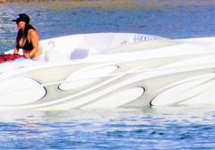 White boat (thomasgorman1) Tags: boat white river canon outdoors arizona woman bikini recreation boating water