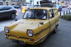 Del Boy is Here,3 (doojohn701) Tags: yellow 1960s vintage retro reflection windows classic reliant supervan tvshow tribute dirty 1980s van traffic vegetation suitcases masks neweltham uk