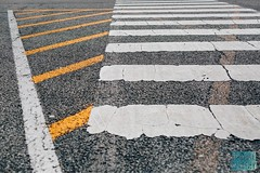 Week 12: Geometry (bmurphy502) Tags: 2019p52 geometry lines shapes angles street outside urban blacktop black white yellow parking abstract city road crosswalk
