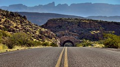 A Graveled Road Leading off to Peaks of the Sierra del Carmen (Big Bend National Park)