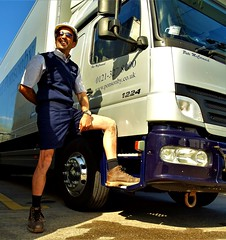 Trouserless Pete (soxer123) Tags: shorts lorry driver trucker handsome