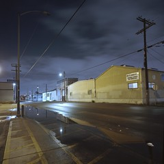 At Azusa St. (ADMurr) Tags: la eastside night anderson azusa clouds pole yellow blue kodak ektar mf hasselblad dba311