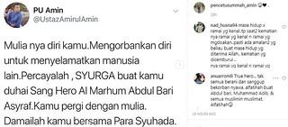 """""""Percayalah Syurga Buat Kamu, Damailah Bersama Para Syuhada"""". Doa PU Amin Ini Buat Ramai Menitis Air Mata"""