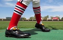 Some Old Baseball Socks (CODA: MARINE 475) Tags: baseball stirrups socks spikes cleats shadow batter springtraining stlouiscardinals burmashave grass sky clouds red white blue stripes