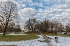 2019 Bike 180: Day 18, February 12 (suzanne~) Tags: 2019bike180 bike bicycle munich bavaria germany olympicpark sky cloud tree park snow winter