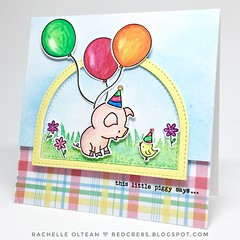 Hello Bluebird - Pig Day (RedCre8s) Tags: redcre8s cards cardcraft cardmaking distressoxideinks handmadecards handmade handstampedcards diecuts diecutting distressoxideink distressink hellobluebirdstamps pigparty pigday thislittlepiggy birthday birthdaycard birthdaycards partypals
