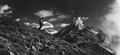 How I wonder .. (tchakladerphotography) Tags: blackwhite bw mountains sky clouds atmosphere himalaya highland travel nature nepal nikon person grass rocks misty