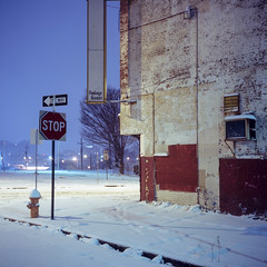 (patrickjoust) Tags: rolleiflex automat mxevs fujichrome t64 tlr twin lens reflex 120 6x6 medium format fuji chrome slide e6 color reversal expired discontinued tungsten balanced film cable release tripod long exposure night after dark manual focus analog mechanical patrick joust patrickjoust baltimore maryland md usa us united states north america estados unidos urban street city snow snowy early morning row house home johnston square abandoned vacant empty corner store package goods sign stop one way