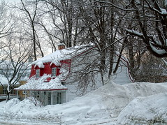 Le toit rouge (Jean S..) Tags: house winter snow ice cold trees red white city balcony windows door