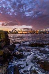 On the Rocks (Jared Beaney) Tags: canon canon6d australia australian photography photographer travel sydney city cityscapes cityscape sunset sydneyoperahouse sydneyharbourbridge sydneyharbour operahouse mrsmacquarieschair views view