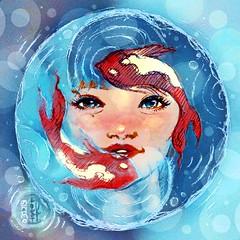 Daily #Art - Day 03-22-19 (hinxlinx) Tags: dailyart illustration pendrawing pensketch portrait portraitart face ripples water koi fish yinyang ruolin hinxlinx ericlynxlin elynx instaart artofinstagram