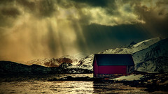 rainstorm (shutterbug_uk2012) Tags: norway lofoten red hut boathouse fjord inlet tidal storm rain clouds dramatic light rays sunlight ethereal mountains winter 2019 nikon d850 filters colour new seascape ndil