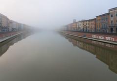 Foggy Morning (Dmitry Shakin) Tags: italy tuscany water pisa arno river fog reflection