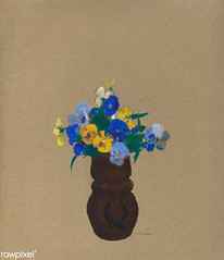 Pansies by Odilon Redon (Free Public Domain Illustrations by rawpixel) Tags: art arts artwork beautiful bloom blossom blue bouquet brownpaper classic decor decoration drawing floral flower flowers french fresh illustration interior natural odilonredon painting pansies pansy pastel poster redon retro spring stilllife style summer vase vintage yellow