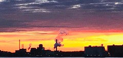 Be Industrious (DetroitDerek Photography ( ALL RIGHTS RESERVED )) Tags: 313 detroit motown windsor industry manufacture canada midwest usa america sunrise iphone digital detroitderek color sky january 2019 michigan smoke