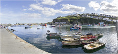 Outter-Harbour_Panorama (Roger Brown (General)) Tags: mevagissey nestles small valley faces east bay inner outer harbours busy mixture pleasure vessels working fishing boats major industry village centre consists narrow streets eat shops aimed tourist trade first recorded mention dates from 1313 porthhilly evidence settlement dating back bronze age roger brown canon 7d sigma 18250mm