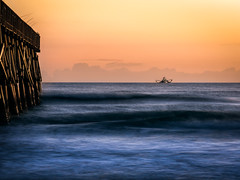 "Fishing trawler ""Miss Hope"" at daybreak near the pier (Ed Rosack) Tags: usa landscape pier dawn hires surf ©edrosack florida ocean cloud seascape olympus sky boat flaglerbeach fishingboat centralflorida water cloudy dock us edrosackcom"
