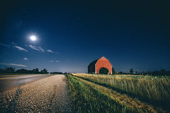 the aul barn (viewsfromthe519) Tags: evening night moon sky skyscape stars barn rural road red blue green farm field tempo ontario canada
