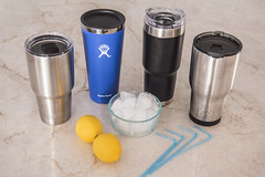 line up of insulated tumblers