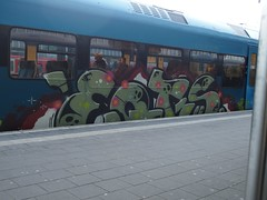 EQTs (mkorsakov) Tags: münster hbf bahnhof mainstation zug train rb66 westfalenbahn graffiti piece bunt colored oldschool eqt 15years
