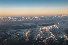Sunrise Mountains (mopics347) Tags: snow central asia centralasia asian centralasian cold winter aerial above outdoor sunrise peaks light golden