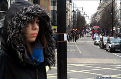 `2530 (roll the dice) Tags: london westminster w1 westend lights oxfordstreet streetphotography surreal sad mad fun funny people cold fashion bags shops shopping urban unaware unknown england uk classic art portrait candid stranger canon tourism tourists pretty sexy girl smile happy traffic bus cars eyes face coat fur taxi view pole post