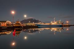 A quiet night in Höfn (Kadu Flyer) Tags: höfn hofn iceland reflection vesturhorn sea sky mountain ship boat buoy harbour night