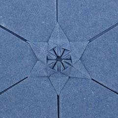 Lucky Star Tessellation (molecule variant) (Michał Kosmulski) Tags: origami tessellation molecule star sky paper paperreview paperart michałkosmulski handmadepaper blue