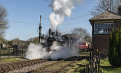 Springtime at Cranmore (powern56) Tags: somerset eastsomersetrailway cranmore cranmorestation esr ivatt 46447 steamlocomotive heritagerailway