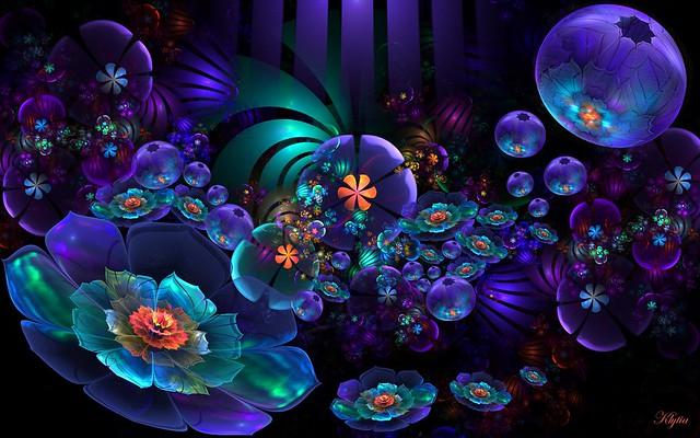 Обои цветы, фрактал, пелена, свет, темный картинки на рабочий стол, фото скачать бесплатно