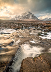 Cauldron falls and the Buachaille Etive Mor, Glencoe (graham.kirkham1) Tags: cauldron falls glencoe hills mountains light dramatic snow waterfall scotland rocks