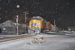 Cold coal train (gsebenste) Tags: trains night snow winter hampshire illinois unionpacific up canadianpacific