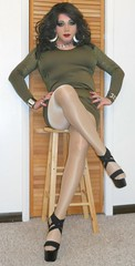 Green Minidress (davina_wayne) Tags: crossdresser crossdressing crossdressed crossdress capeziotights capeziopantyhose dragqueen dragmakeup drag boi boytogirl femme feminized highheels hosiery heels pantyhose nylons minidress maletofemale m2f stilettoheels transvestite tgirl tranny tights